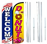 Donuts Welcome King Windless Flag Sign With Complete Hybrid Pole set - Pack of 2