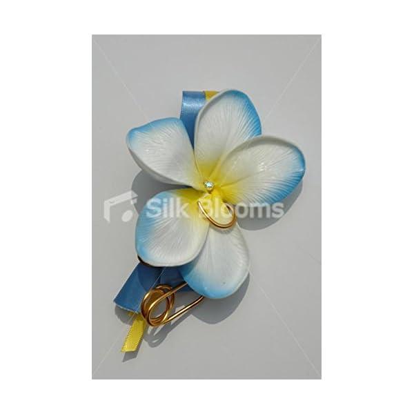 Artificial Aqua White Frangipani Plumeria Buttonhole Buttonaire