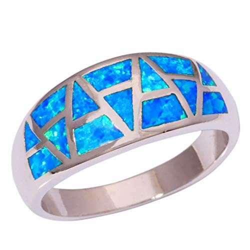 - MARRLY.H Created Blue Fire Opal Silver Plated Retail Fashion Party for Women Jewelry Ring Blue 11
