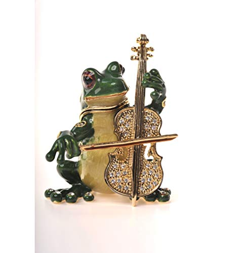 Keren Kopal Musical Frog Playing Chello Faberge Styled Trinket Box Handmade Decorated with Swarovski Crystals ()