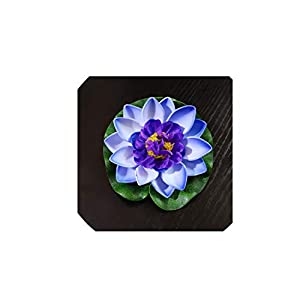 1PCS 10CM/ 18CM/28CM Artificial Fake Lotus Flower Lotus Flowers Water Lily Floating Pool Plants Wedding Garden Decoration,Blue Lotus,10CM 99