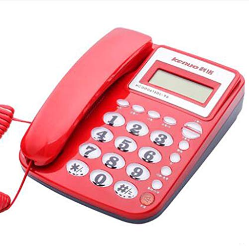 (Wired Caller ID Telecom Home Old Man Mini Wall Mount Office Seat Fixed Telephone Landline,Red)
