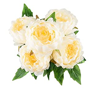 HoveBeaty Artificial Peony Silk Flowers Bouquet Home Wedding Decoration (Champagne) 117