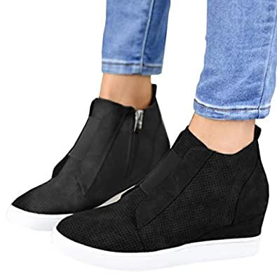 Ermonn Womens Wedge Sneakers Fashion High Top Side Zipper Platform Booties Flat Shoes Black Size: 6