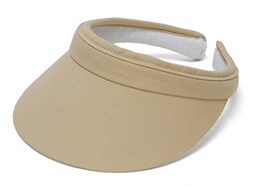 Khaki Womens Visor - TopHeadwear Sports Cotton Twill Clip-On Visor - Khaki