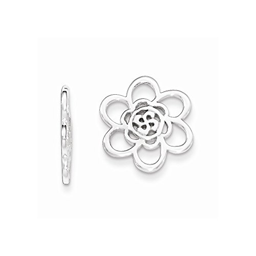 Sterling Silver Flower Earring Enhancers 14 mm 14 mm Earring Jackets Earrings Jewelry
