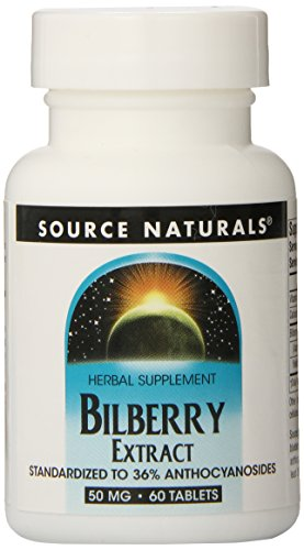 Source Naturals Bilberry Extract 50mg, Standardized Botanical Antioxidant, 60 Tablets (Bilberry Tablets)