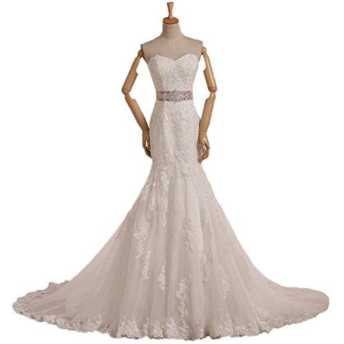 Ever Beauty Sweetheart Open Back Lace Mermaid Wedding Dress with Belt