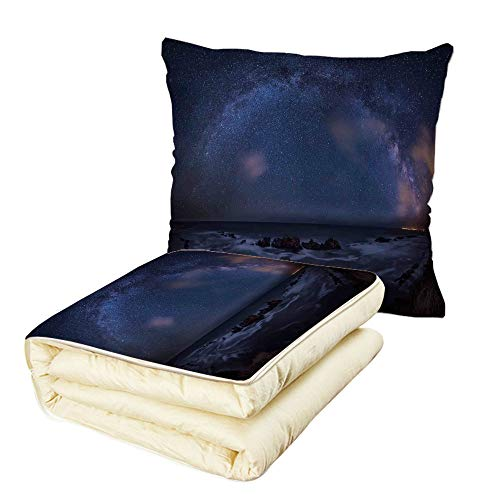 iPrint Quilt Dual-Use Pillow Space Massive Milky Way Over The Sea Appears to Be a Dark Matter Halo Spread Out in Solar Center Multifunctional Air-Conditioning Quilt Blue by iPrint