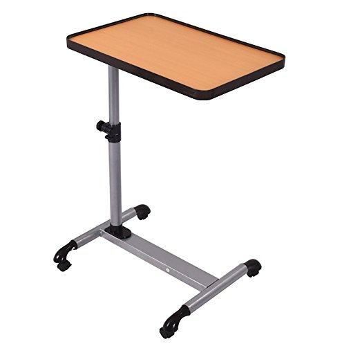 Honey Pine Writing Desk (Rolling Overbed Table Laptop Computer Notebook Desk With Tilting Top Beech Wood Tabletop Food Tray Cart Hospital Writing Workstation Adjustable Height Swivel Lockable Wheels Smooth Tabletops)