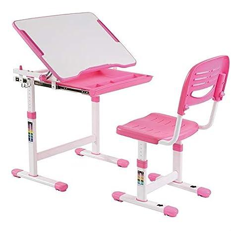Ensemble bureau et chaise pour enfant ALUMNO table à dessin et chaise réglables en hauteur et pupitre inclinable avec rangements, structure en métal et plateau en MDF blanc et éléments plastique rose IDIMEX