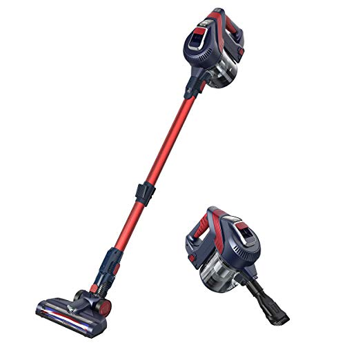 MLITER Cordless Vacuum Cleaner, Lightweight HEPA Stick and Handheld 2 in 1 Bagless Upright Vacuum with Attachments for Home, Office and Car, High and Low Suction Power Adjustable – Navy Blue and Red