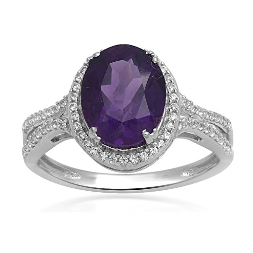 Jewelili Sterling Silver Oval Amethyst and Created White Sapphire Ring, Size 7