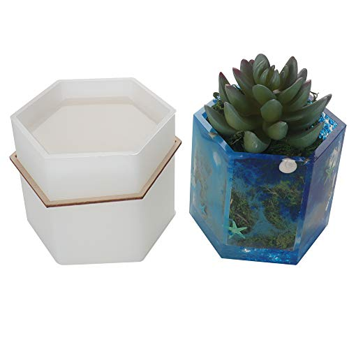 Big DIY Hexagon Resin Plant Mold, Internal Width 2.87