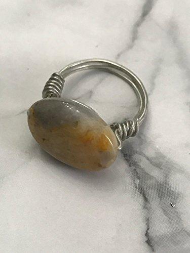 Semi Stone Agate Precious (Silver Wire Wrapped Ring Agate Semi Precious Stone)