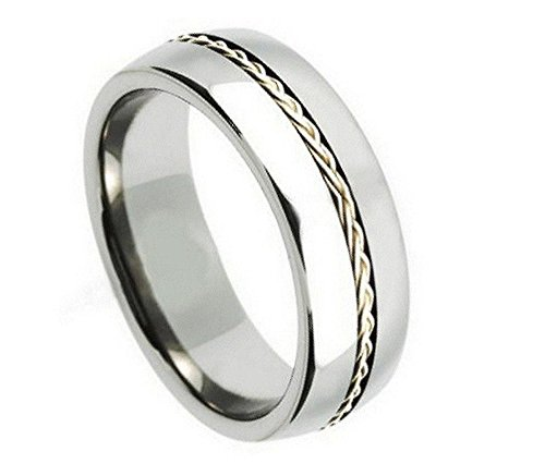(8mm Tungsten Carbide Shiny With .925 Silver Braided Rope Inlay Wedding Band Ring For Men Or Ladies)