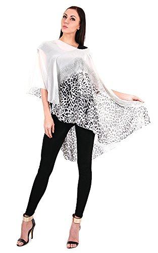 Triple9shop Women's Open Asymmetrical Hem Leopard Print Chiffon Vest (Leopard- White)