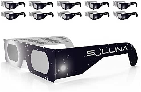 Solar Eclipse Glasses - CE and ISO Certified Safe Shades for Direct Sun Viewing - Made in the USA (10 Pack) by Soluna