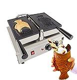 ALDKitchen Taiyaki Fish Waffle Maker 110V | Commercial Use Jam or Ice Cream Waffle Maker | Stainless Steel Taiyaki Maker (Open mouth x 1)