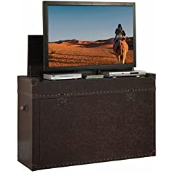 Touchstone 73007 Ellis Trunk Bedroom TV Lift Cabinet,TVs Up To 50 inches, Steamer Trunk, Whisper Lift (Cigar Leather)