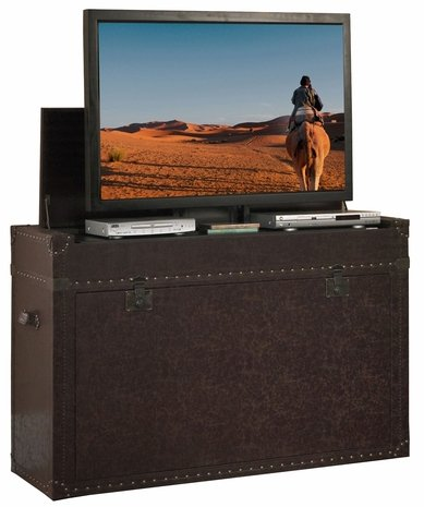 Touchstone 73007 Ellis Trunk TV Lift Cabinet Leather – Up to 50 Inch TVs Diagonal 46 in Wide – Chest Style Motorized TV Cabinet – Pop Up TV Cabinet with Memory Feature, IR RF, 12V Trigger