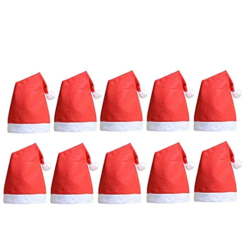 QBSM 10 pcs Christmas Santa Claus Hats Classic Red Cap for Adult Kids Xmas Party -