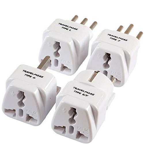European Travel Adapter Plug Set – Pack of 4 Universal USA to Europe Outlet Adapters for All of Europe (Type C, E, F, G J, L) - Works in France, UK, Switzerland, Spain, Italy, Germany & More