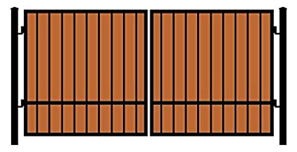StandardGates Metal Wood Security Gates   Wrought Iron Wooden Driveway Gate  Kit   Black Redwood