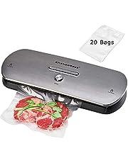 Macchina Sottovuoto per Alimenti Professionale KitchenBoss Sigillatore sottovuoto con 1 Tubo Accessorio e 20PCS sacchetti sottovuoto per alimenti - Acciaio inossidabile