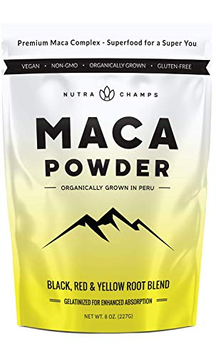 Organic Maca Powder – Peruvian Grown Maca Blend with Yellow, Black & Red Roots – Gelatinized for Superior Bioavailability – Natural, Vegan Non-GMO 8oz. Bag