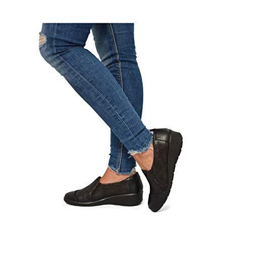 Zapato Cómodo Raso Negro Zapato Cómodo Borde Borde aUqwZEx