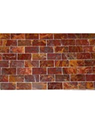 4x4 Small Sample of 2x4 Multi Red Onyx Polished Mosaic Tiles