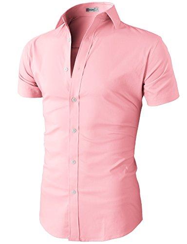 rt-Sleeve Denim Work Shirt Pink US 3XL/Asia 4XL (KMTSTS0132) ()