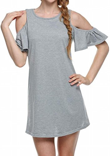 JYZJ-Women Short Sleeve Cold Shoulder Pure Color Summer Loose A-Line Mini Dress
