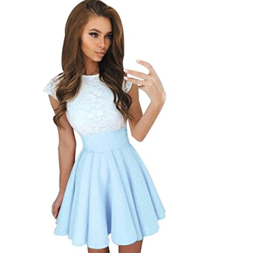 - FUNIC Women Summer Mini Dress, Short Sleeve Skater Lace Dress Party Cocktail Dresses (Small, Sky Blue)