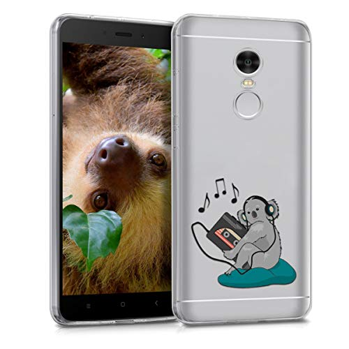 kwmobile TPU Silicone Case for Xiaomi Redmi 5 Plus/Redmi Note 5 (China) - Crystal Clear Smartphone Back Case Protective Cover - Grey/Petrol/Transparent