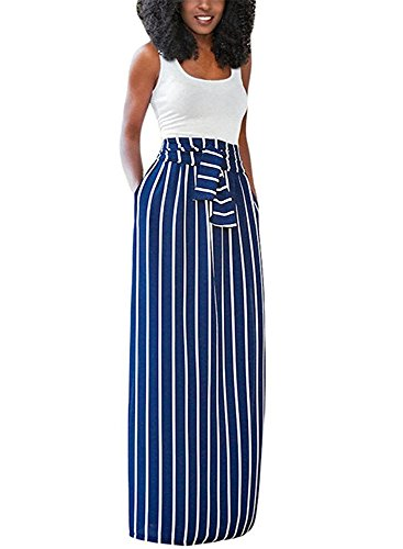 navy and blue striped dress - 1
