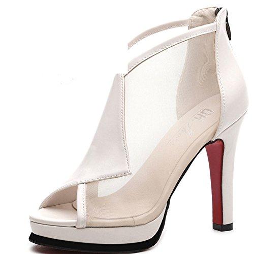 Ladies, Heel Schuhe,Net Garn 100 Wasserdichte Schuhe-A Fußlänge=23.8CM(9.4Inch)
