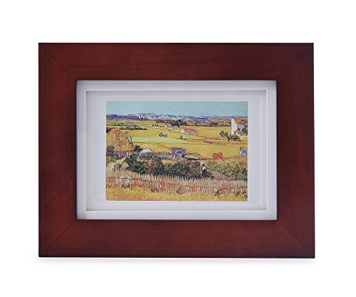 5x7 Brown Wood Frame - Made to Display Pictures - Double White Mat For 3x5 Image