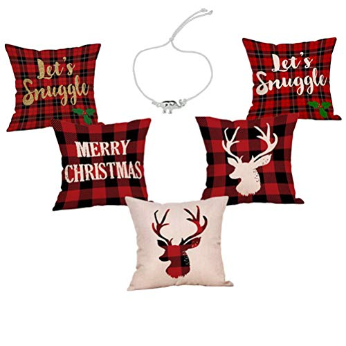 Steven.Smith 5 Pack Red Black Christmas Scottish Buffalo Checkers Plaid Pillow Cover,Winter Deer,Lets Snuggle Quotes Home Decorative Throw Pillow Case Cushion Cover for Sofa Couch 18 x 18 Inch