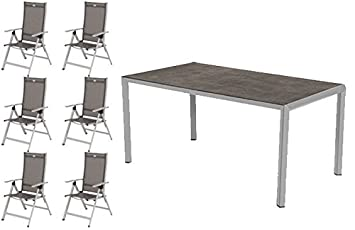 Hartman Salon de jardin Trinidad en aluminium 6 fauteuil pliant + ...
