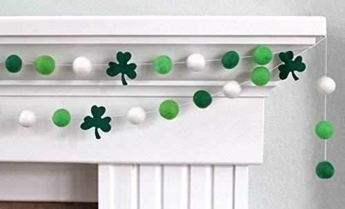 Shamrock St. Patrick's Day Felt Ball Garland- Green, White- 1
