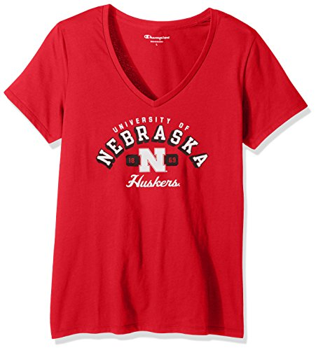 Champion NCAA Women's University Short Sleeve Tagless V-Neck Tee Nebraska Cornhuskers Large
