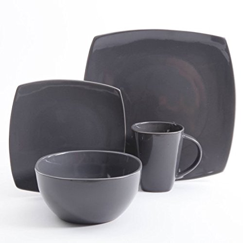 Gibson Home Soho Lounge Square Stoneware 16-piece Dinnerware Set - Gray (Dinnerware Square Grey Sets)