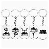 SIFANG Stainless Steel Dog Tag Fortnite Battle Keychain & Necklace Game Jewelry for Her and Him(5 pcs)
