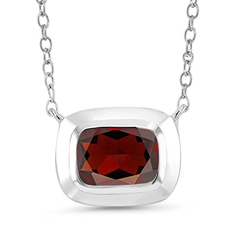 1.77 Ct Cushion Red Garnet 925 Sterling Silver Pendant With Chain