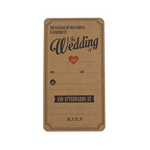 Leen4You Personalised Wedding Invitations/Invites Brown Kraft Wedding Cards Kits (Pack of 10)
