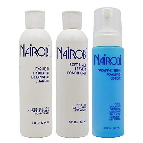 Nairobi Exquisite Hydrating Detangling Shampoo, Soft Finish Leave-in Conditioner, Wrapp-it Shine Foaming Lotion 8oz