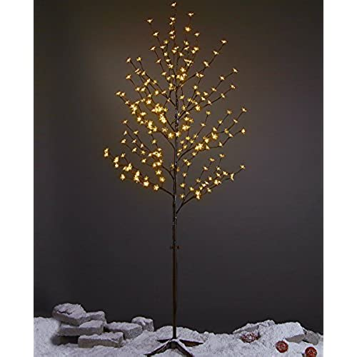 Outdoor lighted christmas trees amazon lightshare 6 feet cherry blossom lighted tree 208 led lights warm white for christmas tree party wedding and more festival deoration aloadofball Choice Image