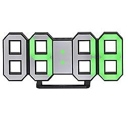 Perfeo LED Electronic Wall Clock, 3D Digital LED Table Alarm Clock, 24/12 Hour Display, Plastic Alarm Clock, Brightness Automatically Adjust (Black, Green)